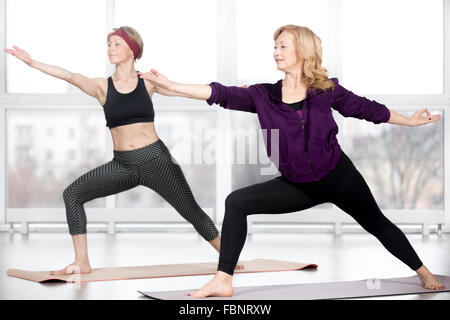 fitness stretching practice group of two attractive