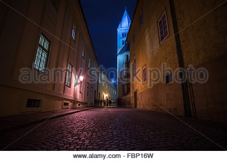 Illuminated Cobbled Street Between Buildings At Night - Stock Photo