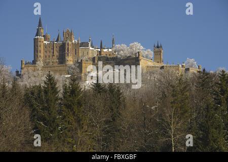 Hohenzollern Castle in winter - Stock Photo