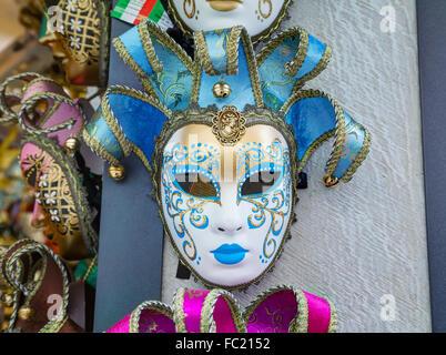 VENICE - NOVEMBER 22: Masquerade Venetian masks on sale on November 22, 2015 in Venice, Italy. - Stock Photo