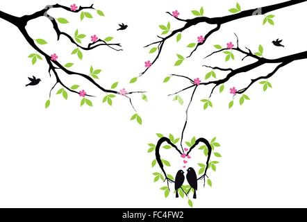 birds sitting on tree in heart shaped nest, vector background - Stock Photo