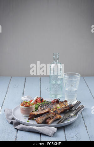 Spare Ribs on Plate - Stockfoto