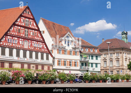 Kielmeyer House and new Town Hall at the market place, Esslingen, Baden-Wurttemberg, Germany, Europe - Stock Photo