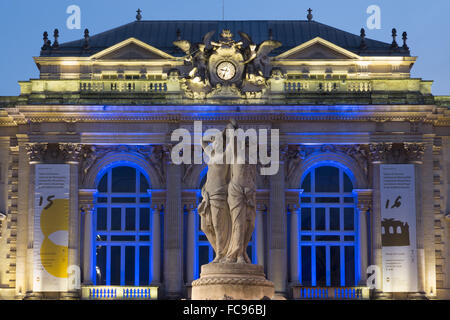 The Three Graces fountain and the Opera in Place de la Comedie in the city of Montpellier at night, Languedoc-Roussillon, - Stock Photo