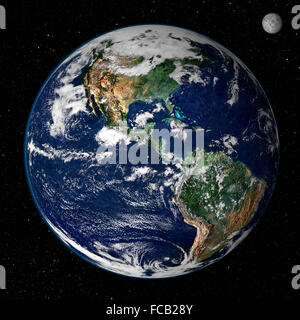 Earth from space. This true-color image shows North and South America as they would appear from space 35,000 km - Stock Photo