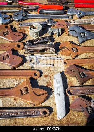 Old hand tools on display at vintage show Stock Photo ...
