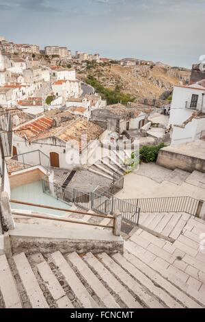 Village and people with daily life. Monte Sant Angelo, Puglia. Italy - Stock Photo