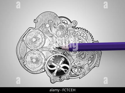 Pencil and drawn sketches of gears mechanism - Stock Photo