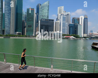 Panorama of Singapore City at Boat Quay, Financial District , Singapore, Asia - Stock Photo