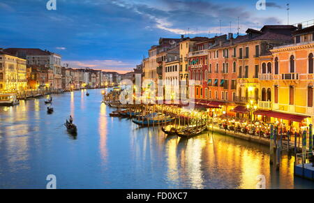Venice view at evening, Grand Canal, Venice, Italy, UNESCO - Stock Photo