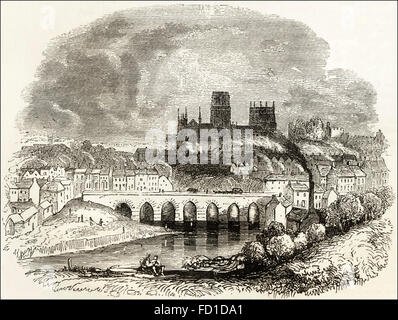 View of Durham Cathedral over River Wear & Elvet Bridge. Victorian woodcut engraving circa 1845. - Stock Photo