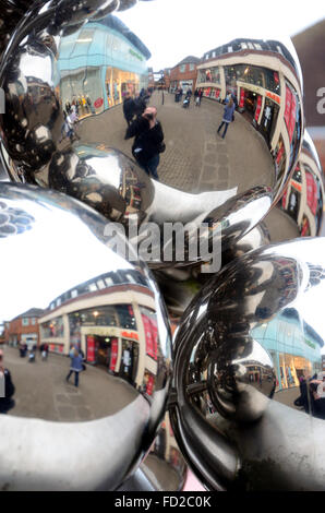 Closeup of shiny spheres which are part of a monument in Windsor to celebrate the Queen's diamond jubilee. - Stock Photo