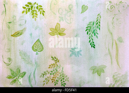 Green background with leaves drawn on watercolor paper. Picture drawn by me. - Stock Photo