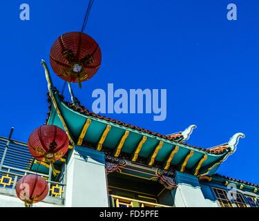 Low Angle View Of Traditional Building Against Clear Blue Sky - Stockfoto