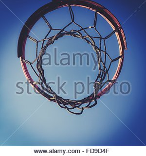 Directly Below Shot Of Basketball Hoop Against Clear Blue Sky - Stock Photo