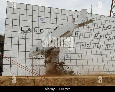 A Cessna 172 aircraft is dropped to the concrete from 82 feet at the Landing and Impact Research Facility at NASA's - Stock Photo