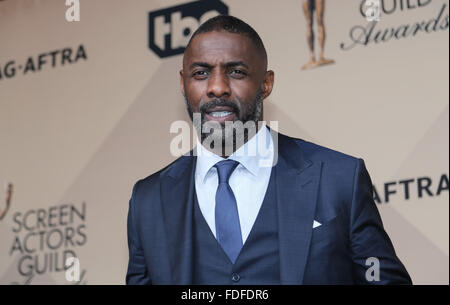 Los Angeles, CA, USA. 30th January, 2016.Actor Idris Elba poses in the press room of the 22nd Annual Screen Actors - Stock Photo
