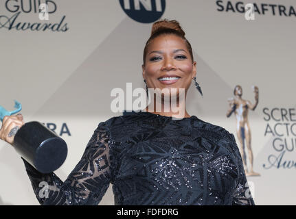 Los Angeles, CA, USA. 30th January, 2016.Actress Queen Latifah poses in the press room of the 22nd Annual Screen - Stock Photo