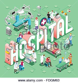 Hospital Healthcare Concept. Clinic Departments Symbols and People NEW bright palette 3D Flat Vector Set. Patients - Stock Photo