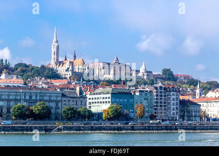 Castle Hill with Matthias Church and Fisherman's Bastion on Buda side of Danube River. Budapest, Hungary - Stock Photo