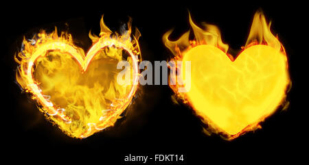 Composite image of heart in fire - Stock Photo