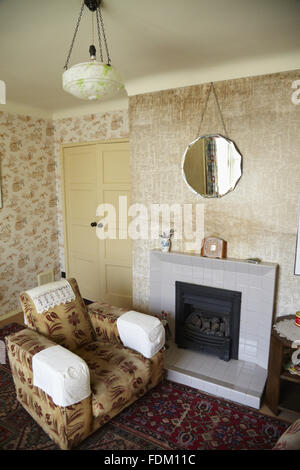 Living Room With Fireplace In A 1950 S Bungalow Stock