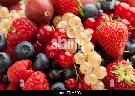 Composition of summer berries full frame - Stock Photo