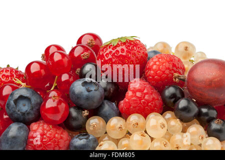 Composition of summer berries on white background - Stock Photo