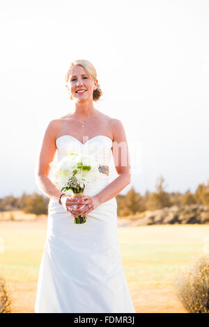 Bride portrait during the bridal session at a wedding in Central Oregon. - Stock Photo
