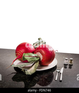 Think Big largest radish radishes red thinking concept think big space for text layout Cut white background cut - Stock Photo