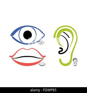 Human anatomy symbols of an eye, a mouth, an ear - Stock Photo