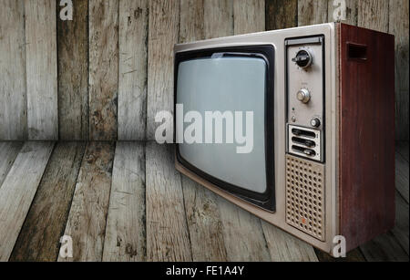 old television in wooden room - Stockfoto