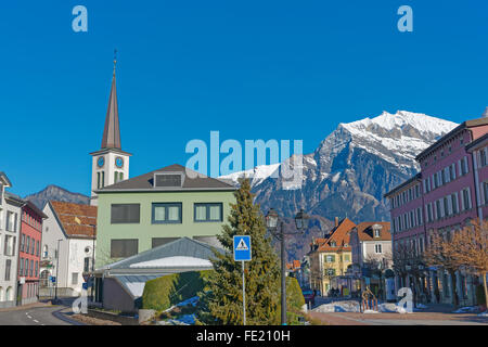 Swiss heritage mountain village with church, Blatten ...