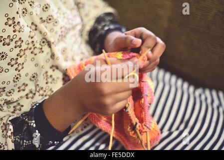Woman's Hands Knitting - Stock Photo