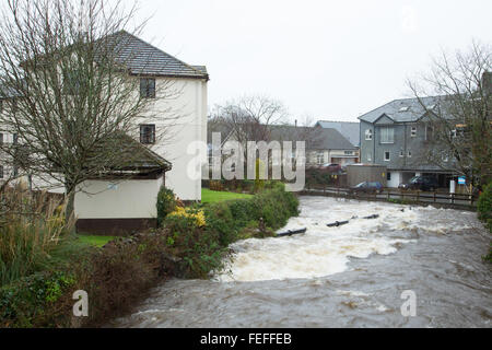 Okehampton, Devon, UK. 6th February, 2016. High river levels at Simmons Park in Okehampton during storm Credit: - Stock Photo