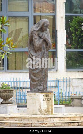 The monument of Mother Teresa of Calcutta (Nene Tereze) in Shkoder city, Albania - Stock Photo