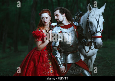 Medieval knight with lady - Stock Photo