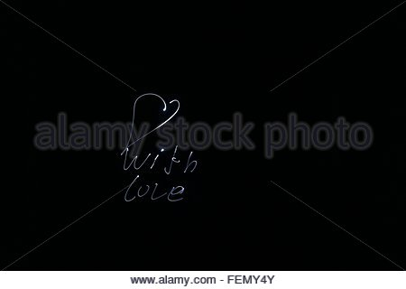 Neon Heart And Text On Black Background - Stock Photo