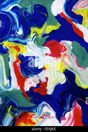 Thick abstract swirls and daubs of acrylic paint running together - Stock Photo