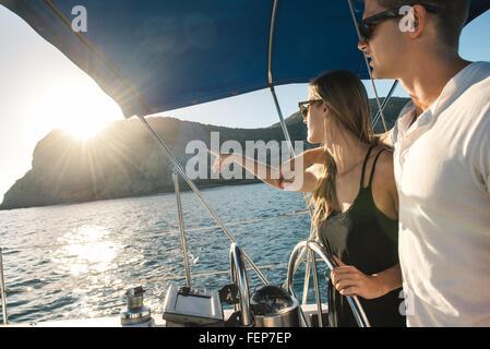 Couple steering wheel of sailboat, San Diego Bay, California, USA - Stock Photo