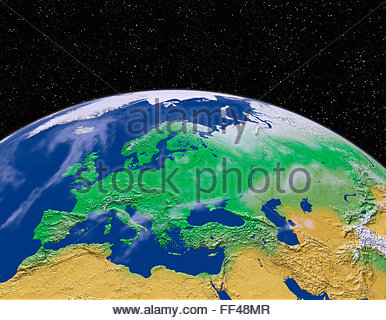 Simulated satellite view of part of the earth from space Europe world map space planet globe terrain relief sphere - Stock Photo
