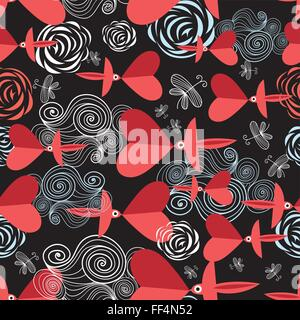 pattern in love birds with hearts - Stock Photo