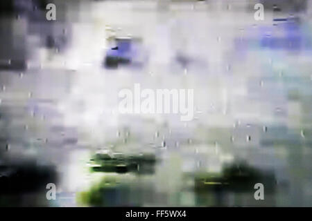 Tv screen with static noise, bad signal reception - Stockfoto