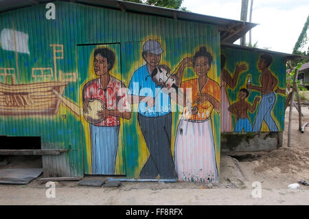 men, child and a woman painted onto corrugated iron house. - Stockfoto