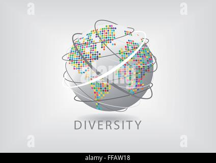 Colorful diversity around the world - Stock Photo