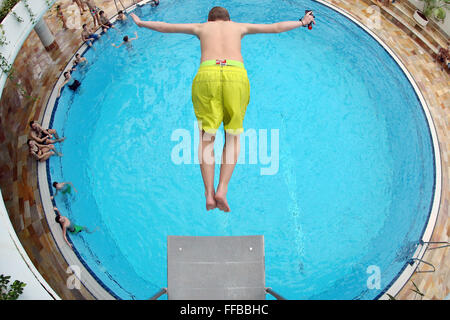 bad lausick germany 09th feb 2016 a boy jumps from a 3 meter stock photo royalty free image. Black Bedroom Furniture Sets. Home Design Ideas