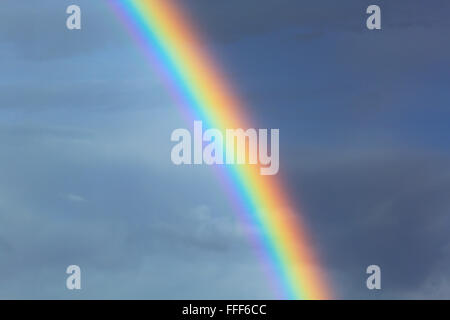 Natural colorful rainbow on blue sky background - Stock Photo