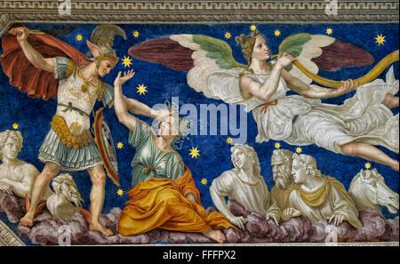 Fresco and ornamental details of Villa Farnesina. Rome, Italy - Stock Photo