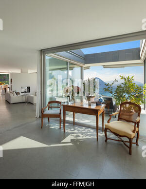 Modern house, beautiful interiors, classic decor and veranda view - Stock Photo