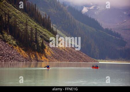 Canoe in lake Louise - Stock Photo